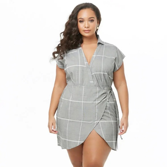623c7fdba4b Plus Size Glen Plaid Wrap Dress NWT